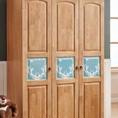 千匠一品 精选优质橡胶木现代北欧三门衣柜8802-C
