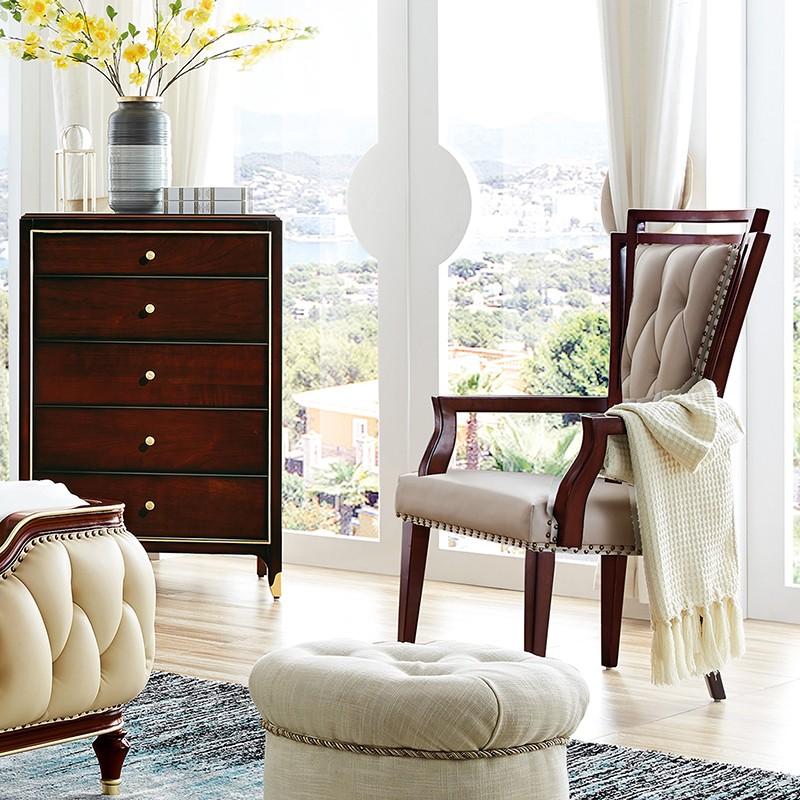 【精品】千匠一品 美式轻奢风格精选优质进口榉木+仿真皮/真皮软包扶手书椅903-Y