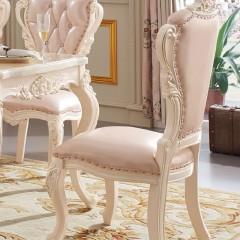 千匠一品欧式风格优质AA级泰国进口橡胶木+头层进口黄牛皮+高密度回弹海绵餐椅(天使白)R6201-F
