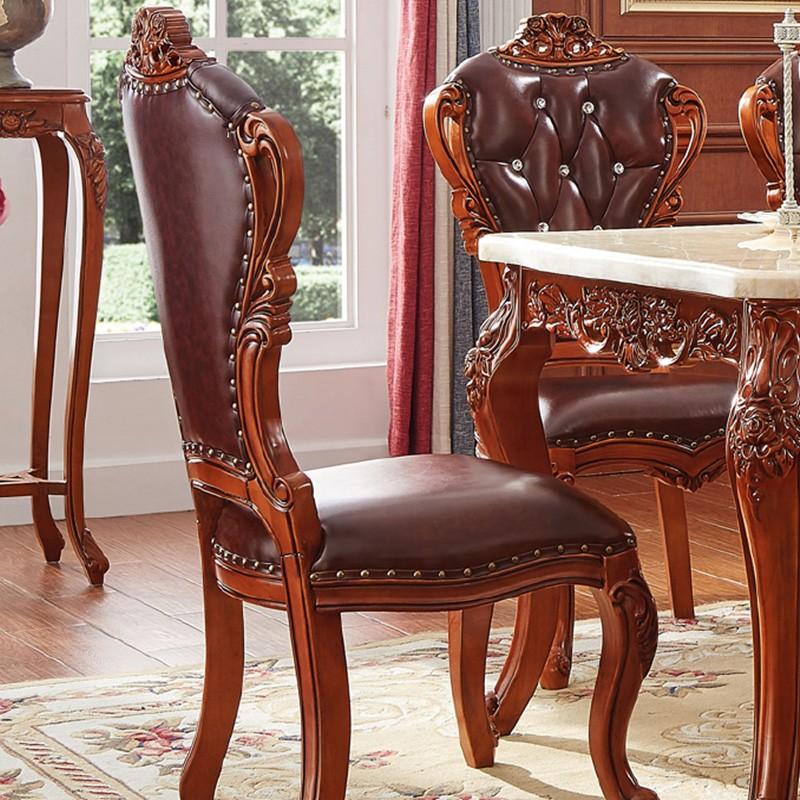千匠一品欧式风格优质AA级泰国进口橡胶木+头层进口黄牛皮+高密度回弹海绵餐椅(?#30340;?#33394;)R6201-F
