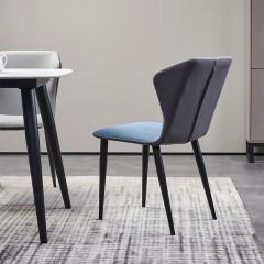 千匠一品轻奢意式极简风格铁框架精选科技布高密度海棉餐椅257#-X