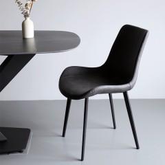 【精品】千匠一品轻奢意式极简风格黑色喷砂金属脚精选PU皮质餐椅YS3-SMY06-X